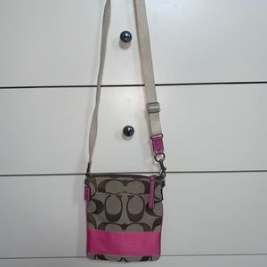 Coach pink and brown cross body